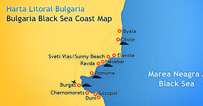 Harta litoral Bulgaria - Map of Bulgaria Black Sea Coast